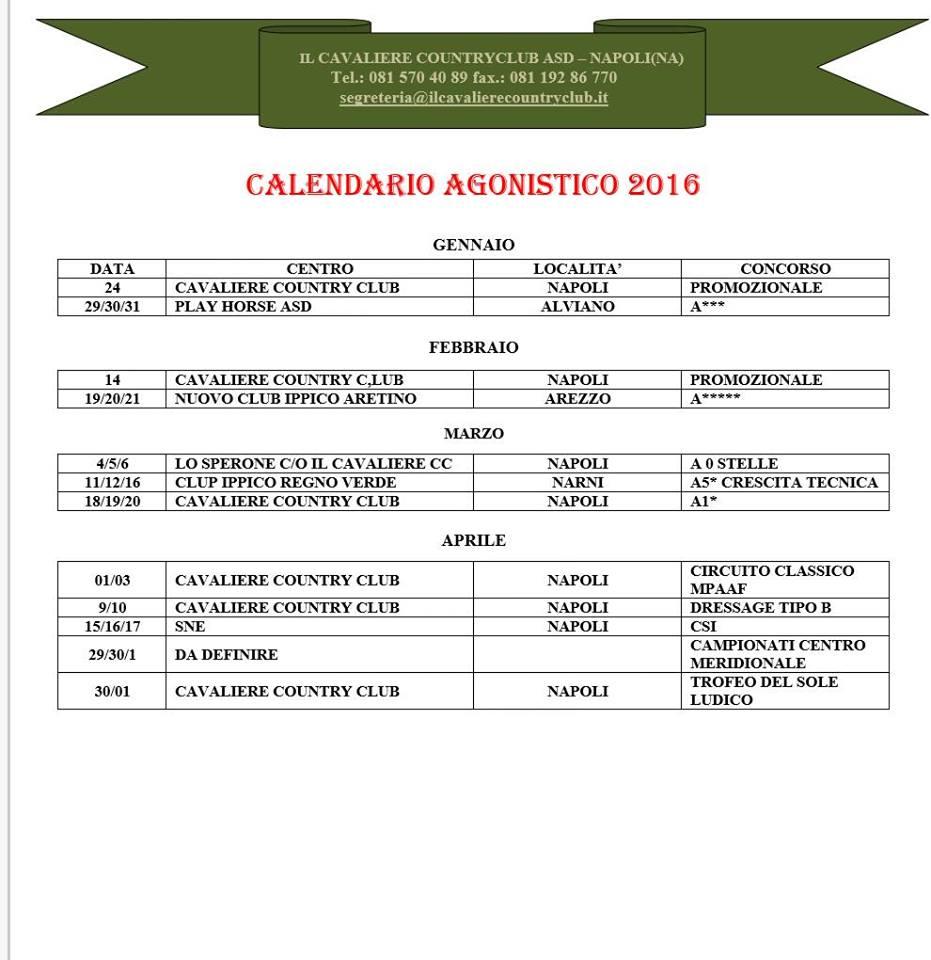 calendario agonistico 2016
